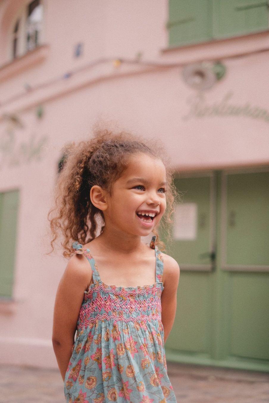boheme chic vintage robe bébé fille marceline turquoise flowers