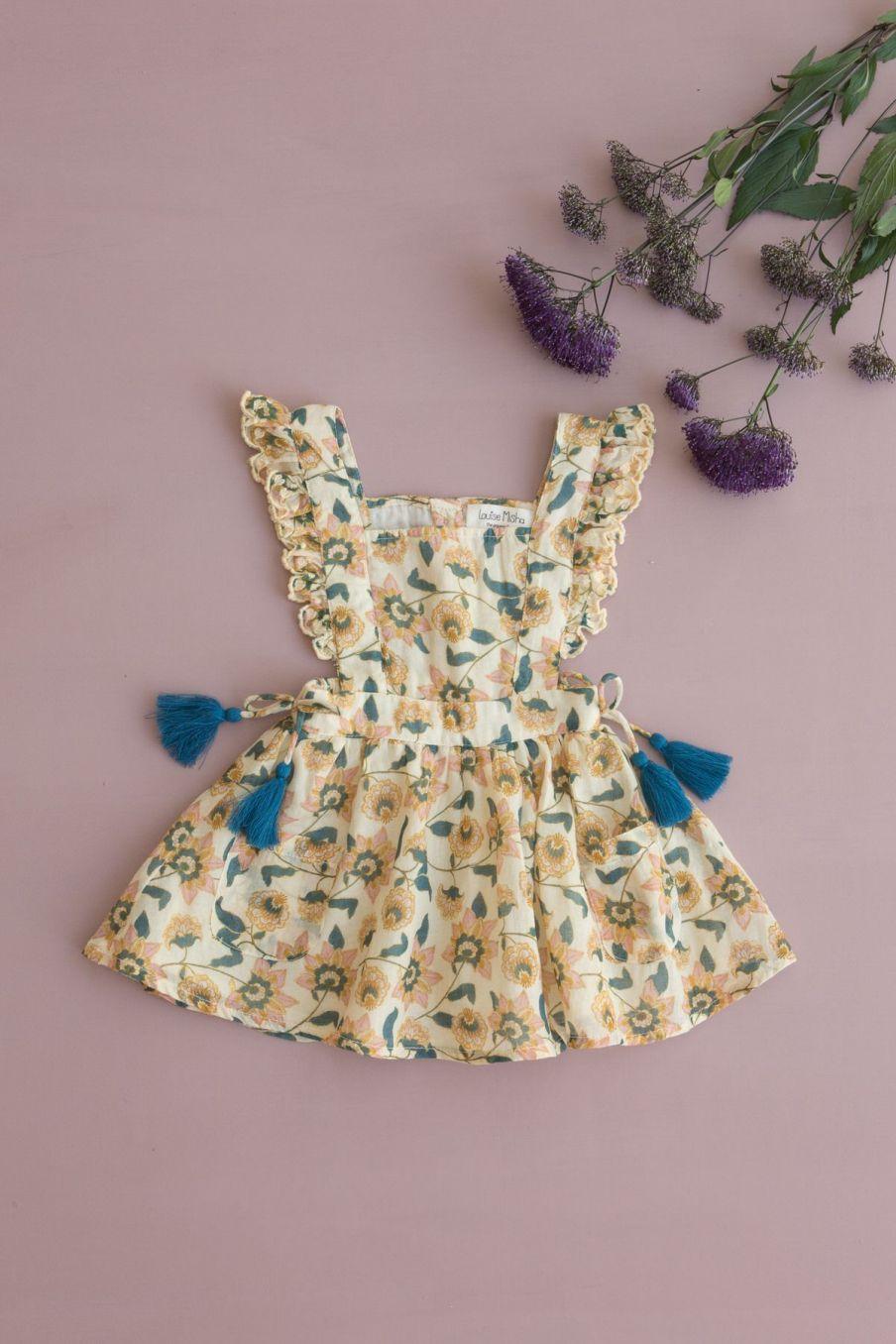 boheme chic vintage robe bébé fille mistinguette cream flowers