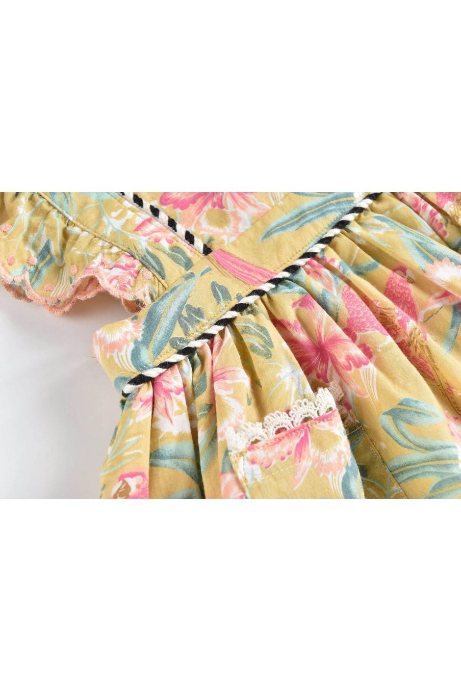 boheme chic vintage robe fille mistinguette soft honey parrots
