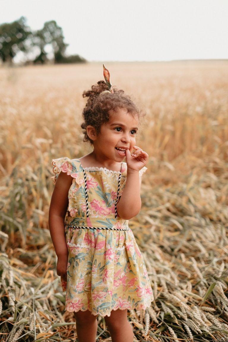 boheme chic vintage robe bébé fille mistinguette soft honey parrots