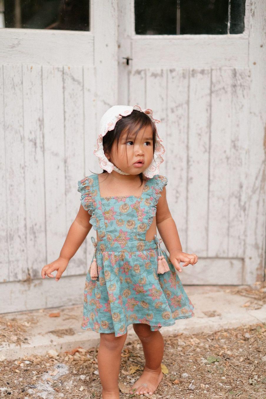 boheme chic vintage robe bébé fille mistinguette turquoise flowers