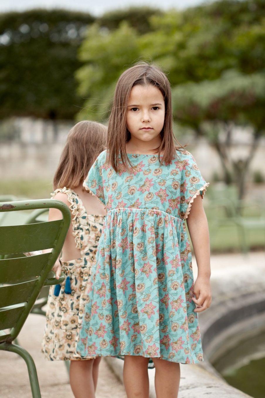 boheme chic vintage robe fille tapalpa turquoise flowers