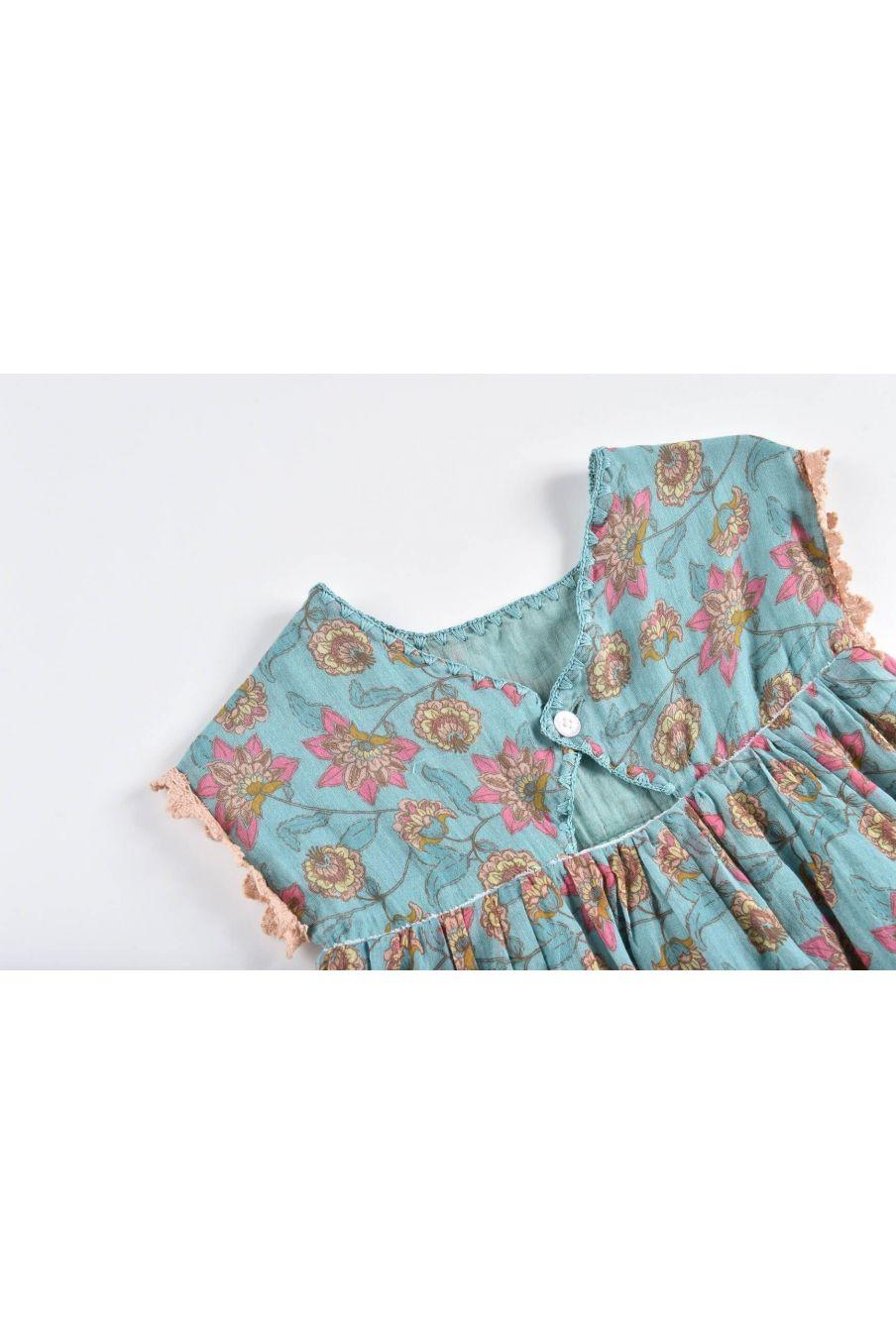 boheme chic vintage robe bébé fille tapalpa turquoise flowers