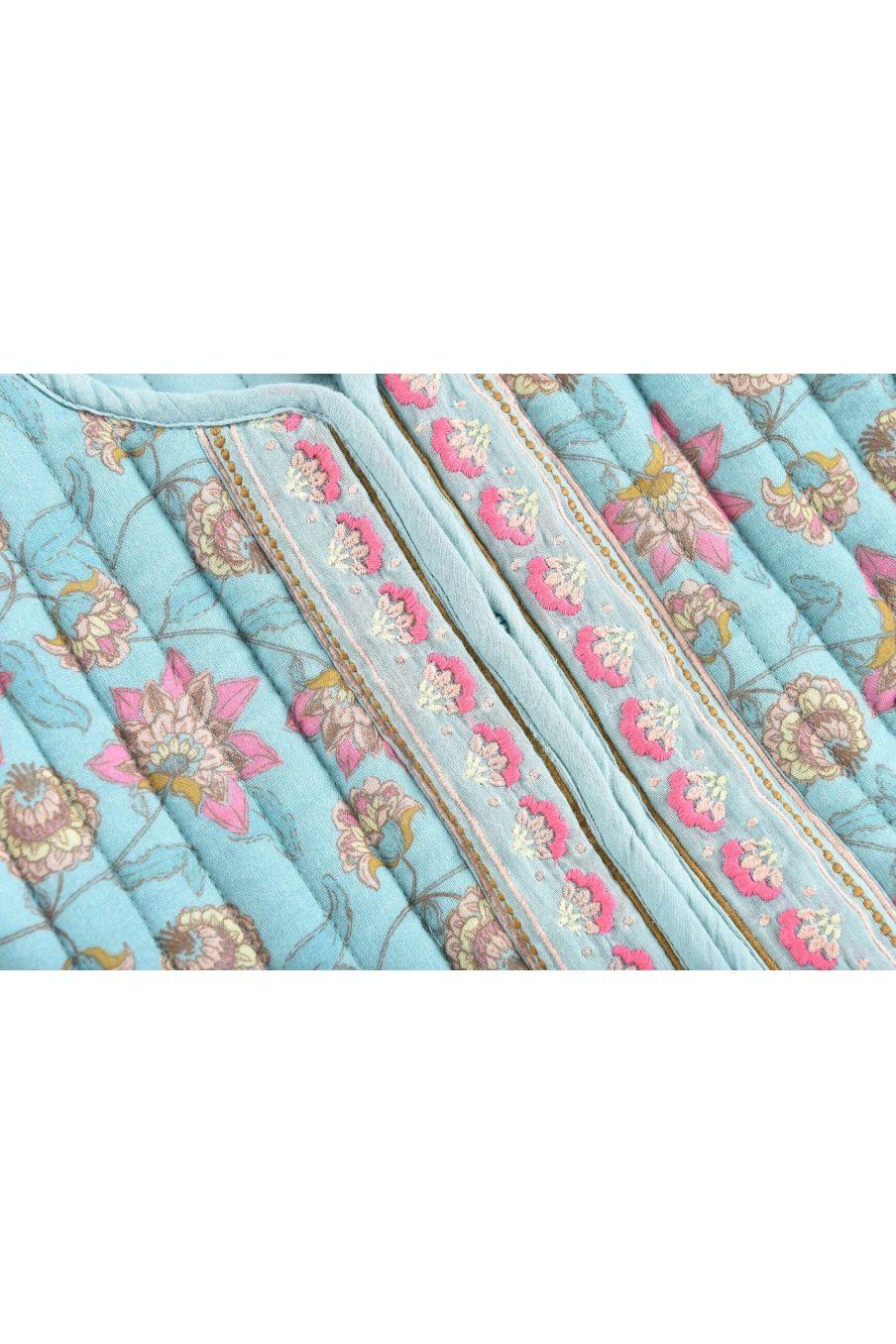 boheme chic vintage veste bébé fille teliani turquoise flowers