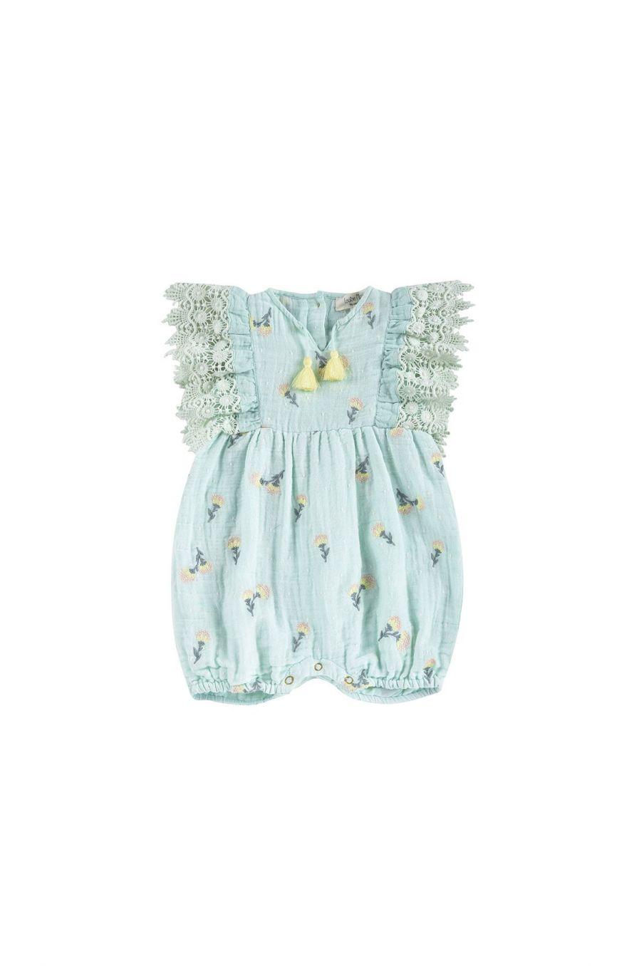 boheme chic vintage combinaison bébé fille agaro almond dandelion flowers