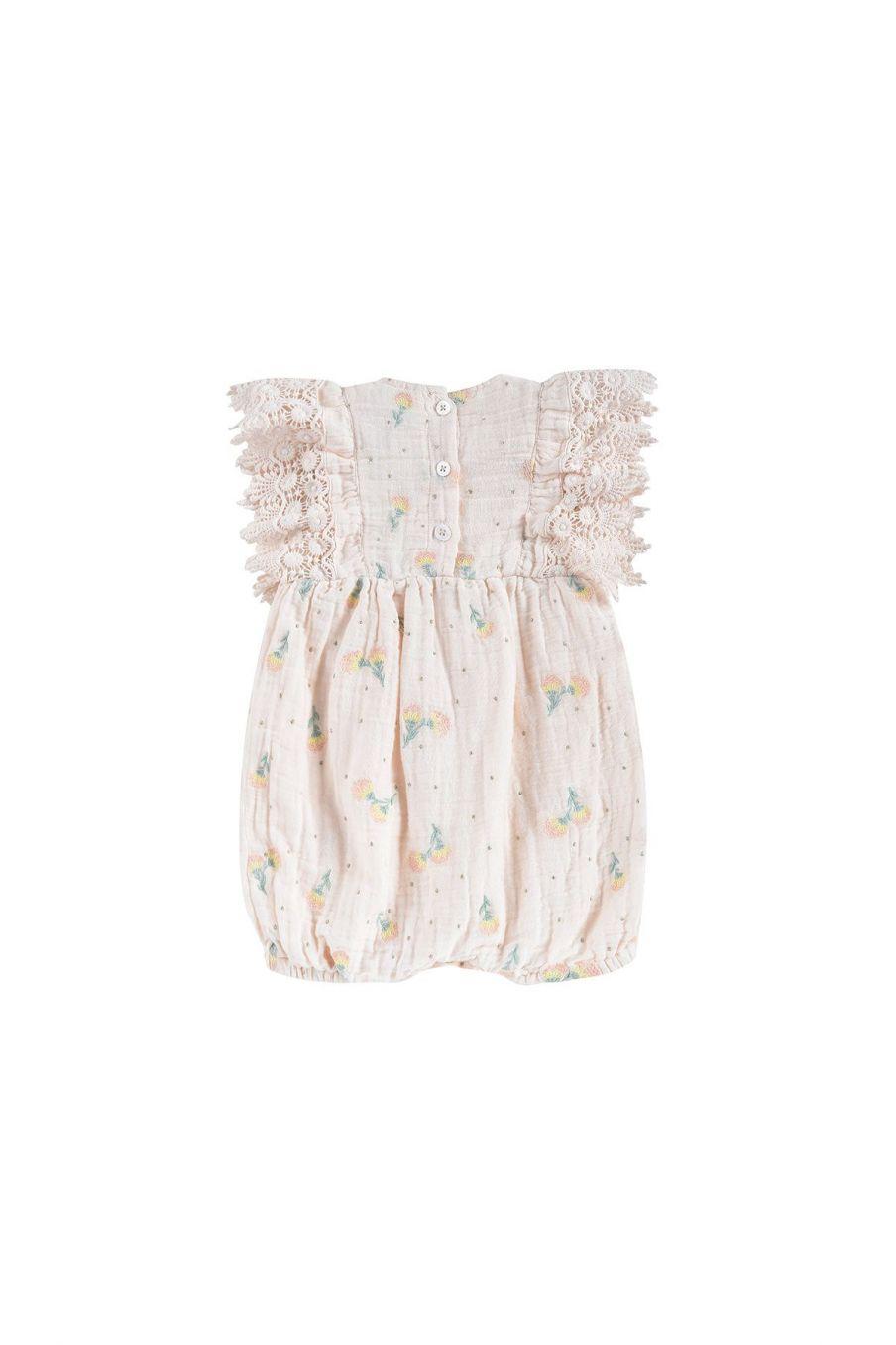 boheme chic vintage combinaison bébé fille agaro blush dandelion flowers