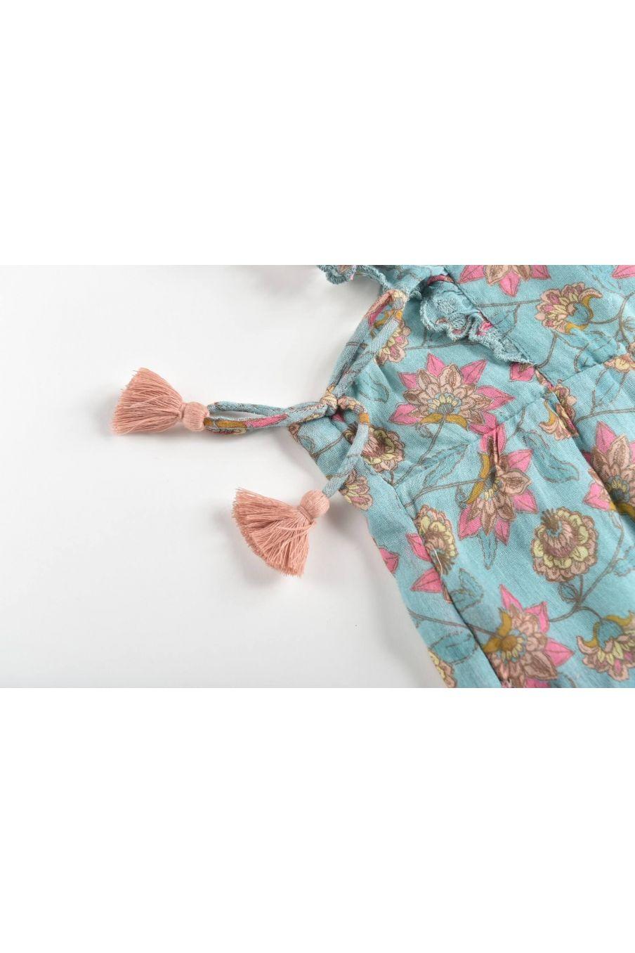 boheme chic vintage salopette bébé fille talia turquoise flowers