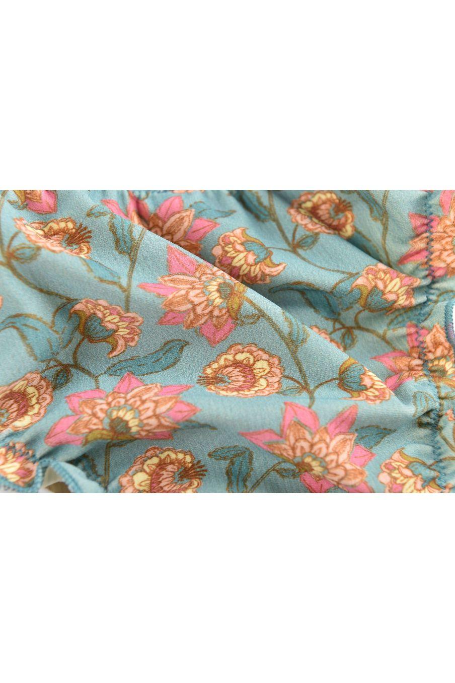 boheme chic vintage bas de maillot bébé fille zaca turquoise flowers