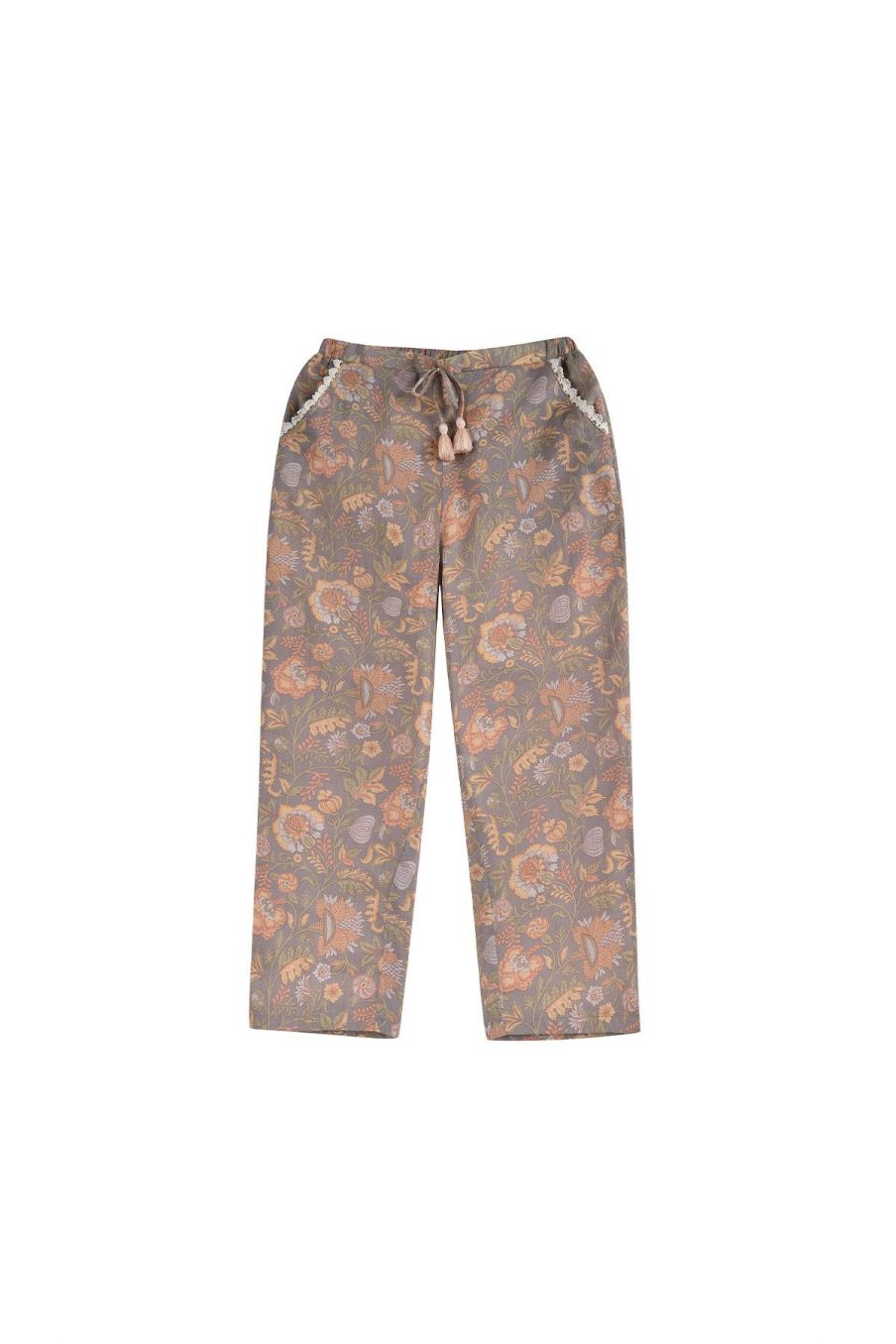boheme chic vintage pantalon fille tzolani grey california flowers