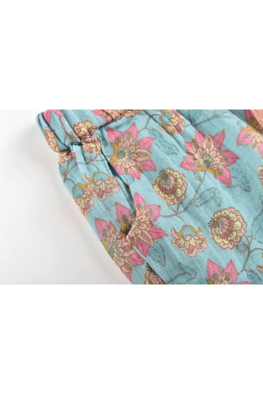 boheme chic vintage short fille vallaloid turquoise flowers