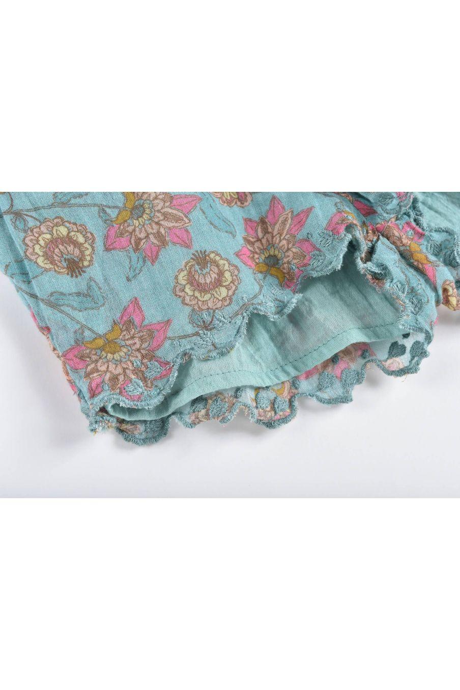 boheme chic vintage short bébé fille vallaloid turquoise flowers
