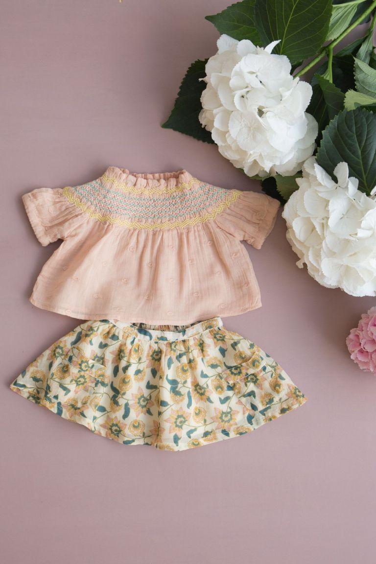 boheme chic vintage jupe bébé fille dollina cream flowers