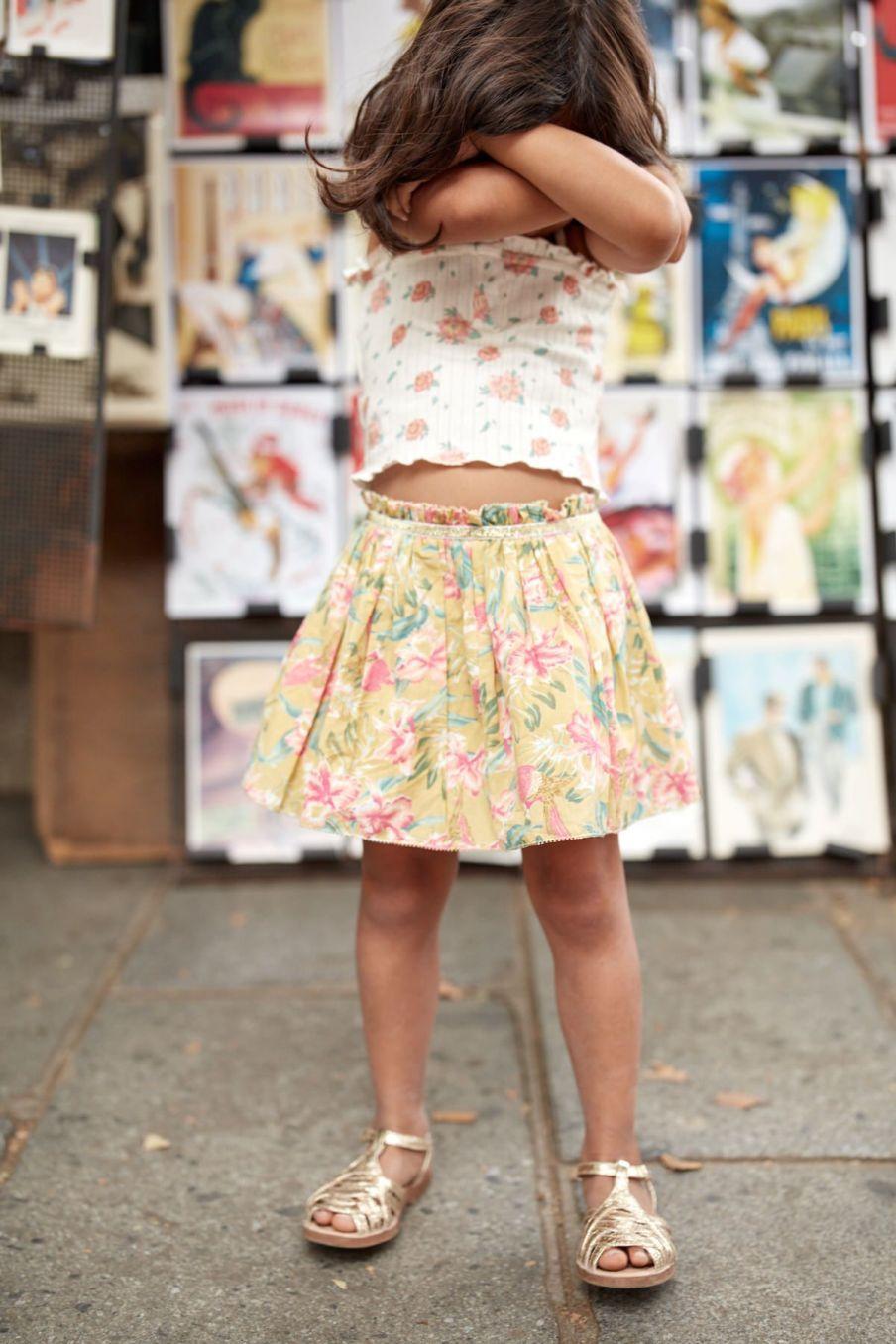 boheme chic vintage jupe bébé fille salina soft honey parrots