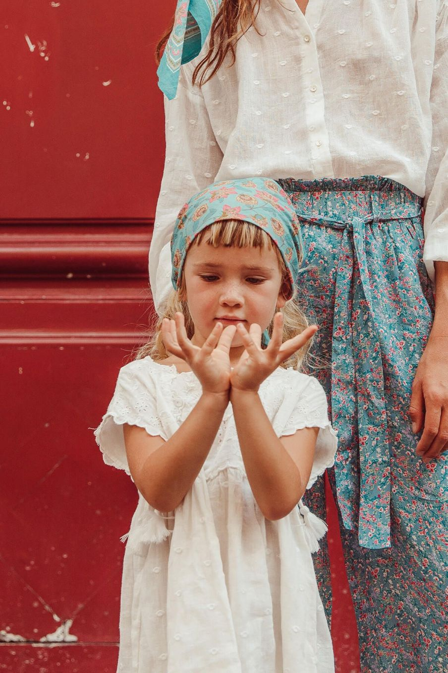 boheme chic vintage petit foulard fille rebha turquoise flowers