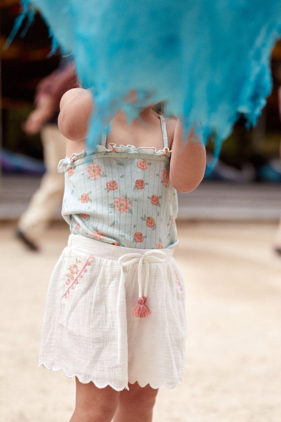 boheme chic vintage débardeur bébé fille alasha vintage blue flowers