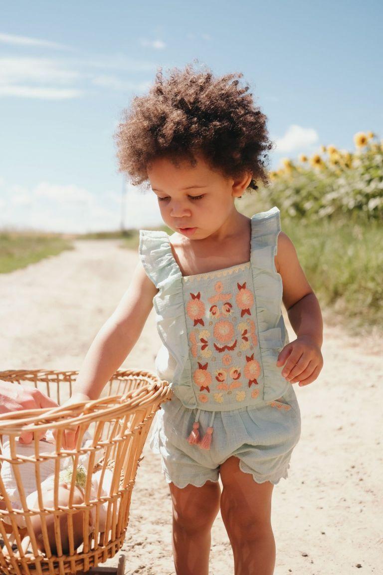 boheme chic vintage top bébé fille hadiya amande