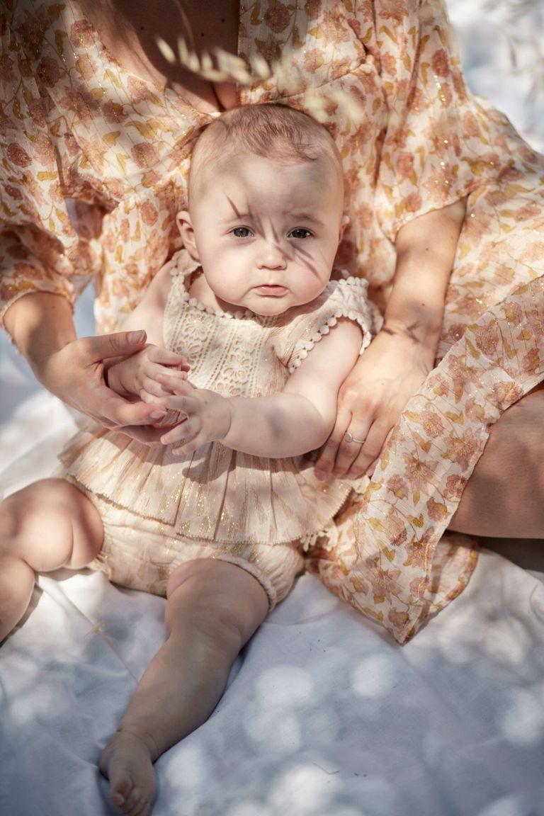 boheme chic vintage top bébé fille lomedeo blush psyche lurex