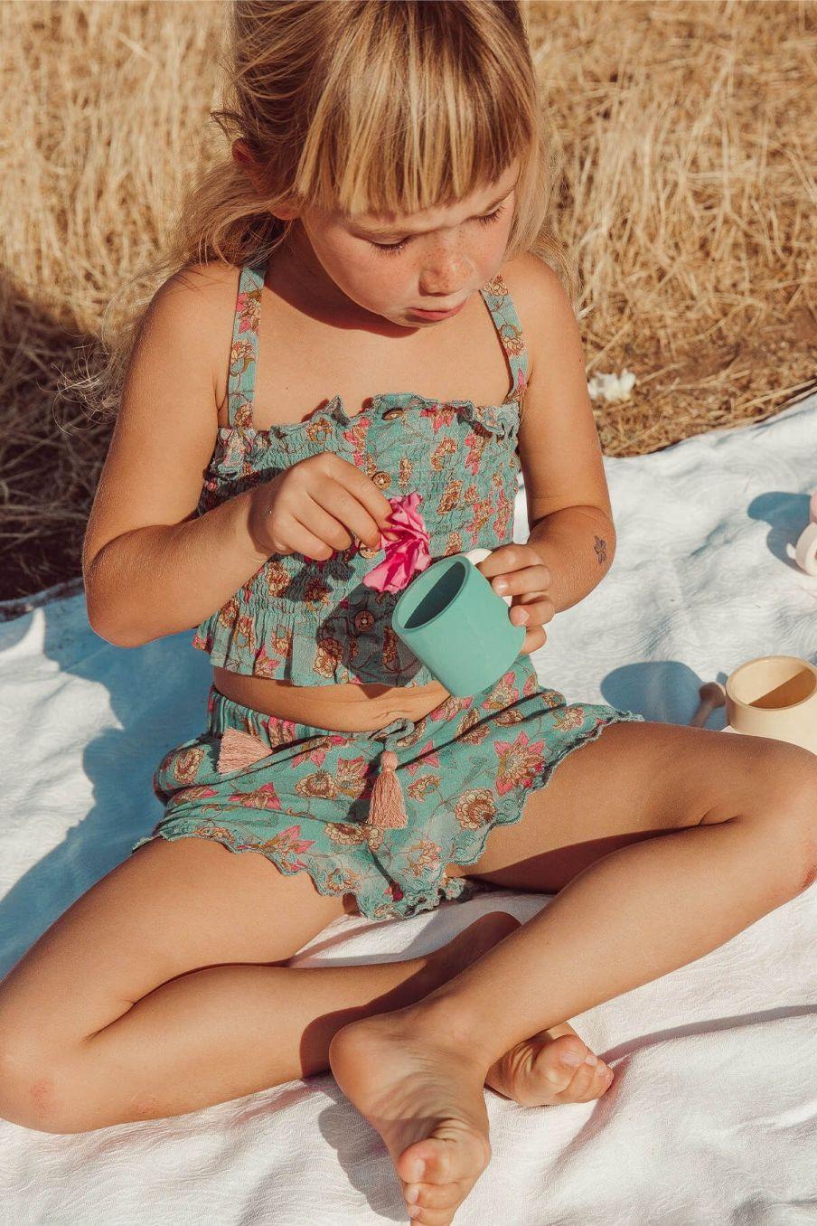 boheme chic vintage top bébé fille malika turquoise flowers