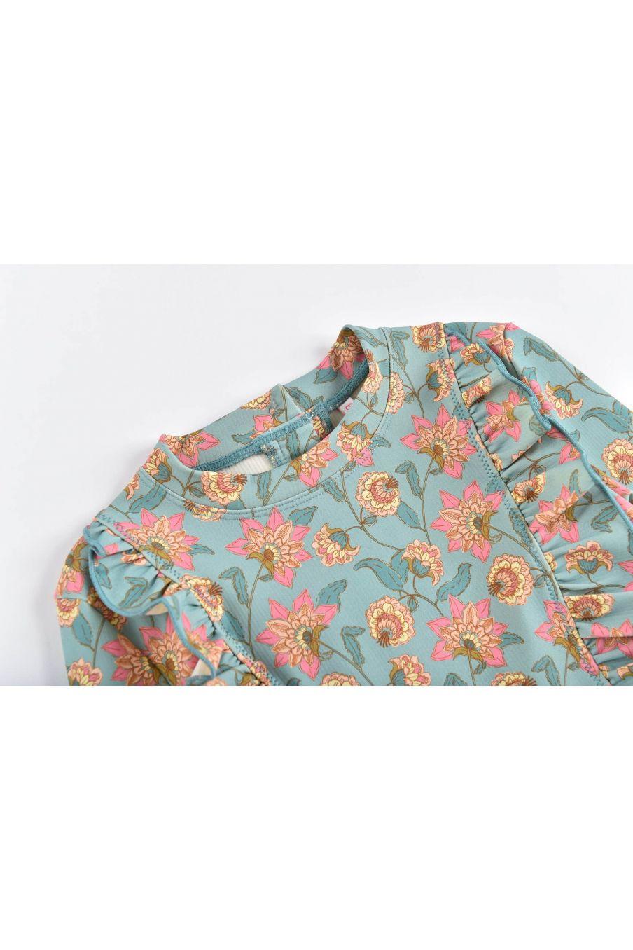 boheme chic vintage set de protection uv fille toluca turquoise flowers