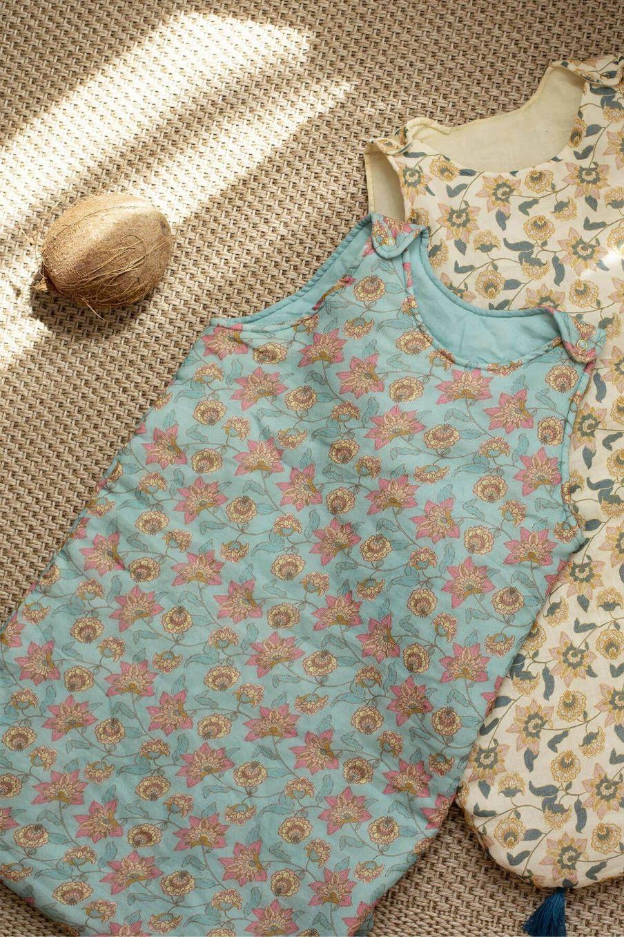 boheme chic vintage turbulette bébé fille masha turquoise flowers