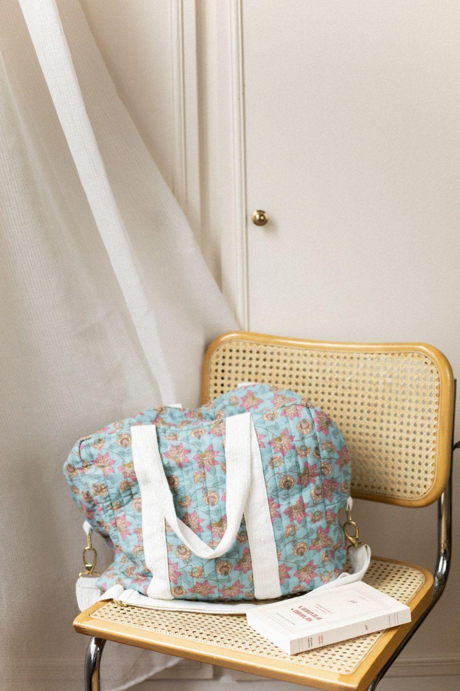boheme chic vintage sac 48heures maison lilio turquoise flowers