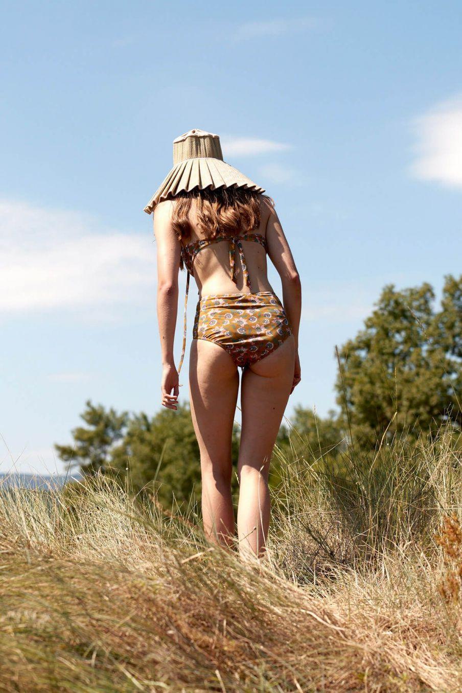 boheme chic vintage bas de maillot taille haute femme creeky cinnamon flowers