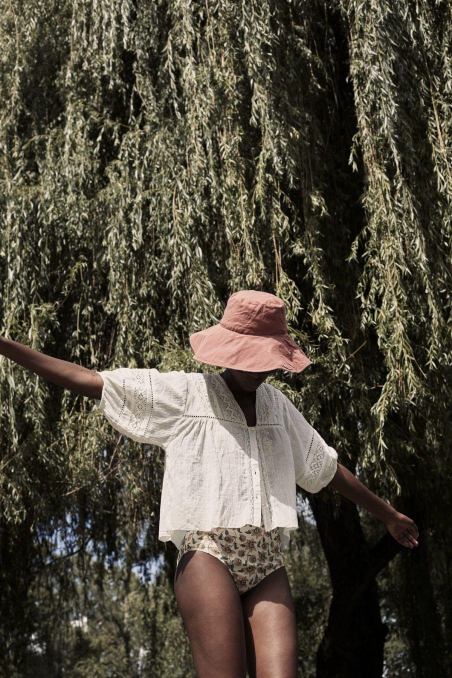 boheme chic vintage bas de maillot taille haute femme creeky cream flowers