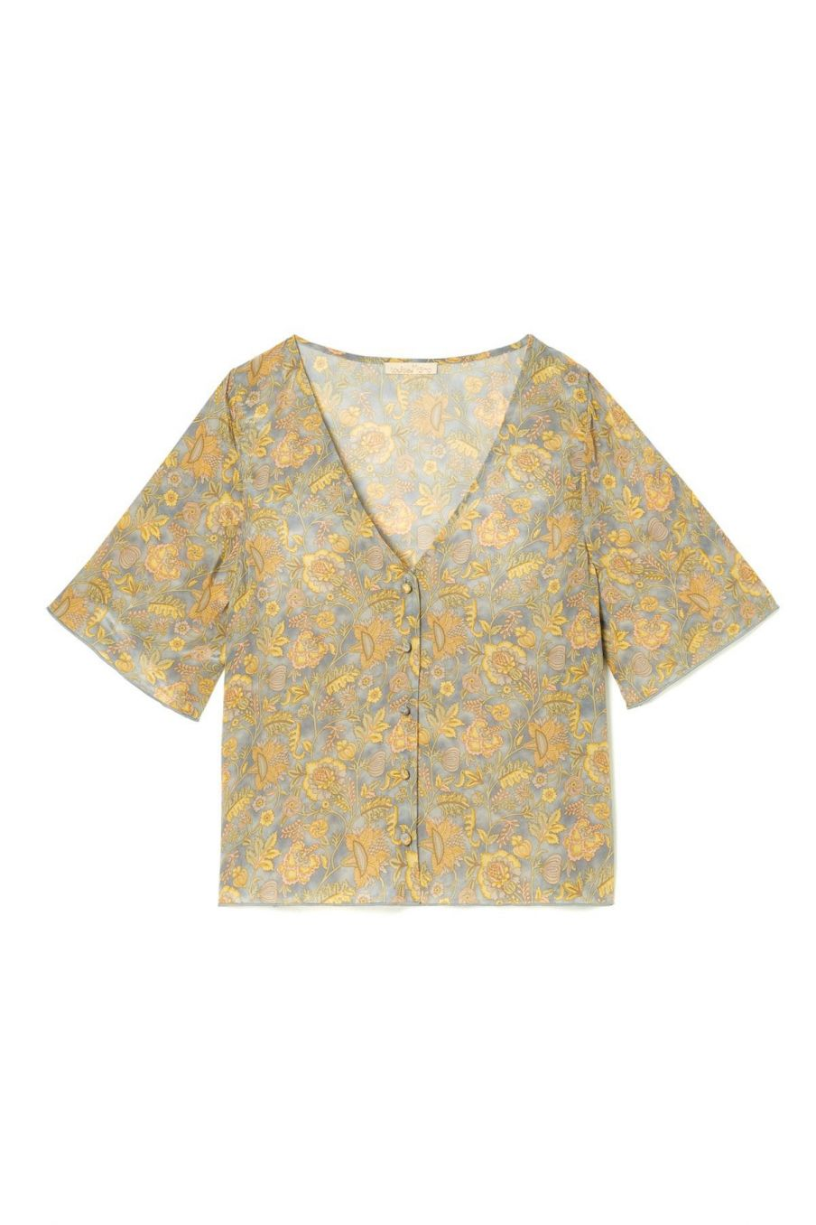 boheme chic vintage blouse femme goyava grey california flowers