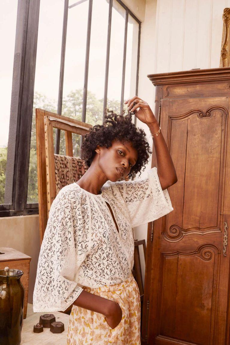 boheme chic vintage blouse femme maribel cream lace
