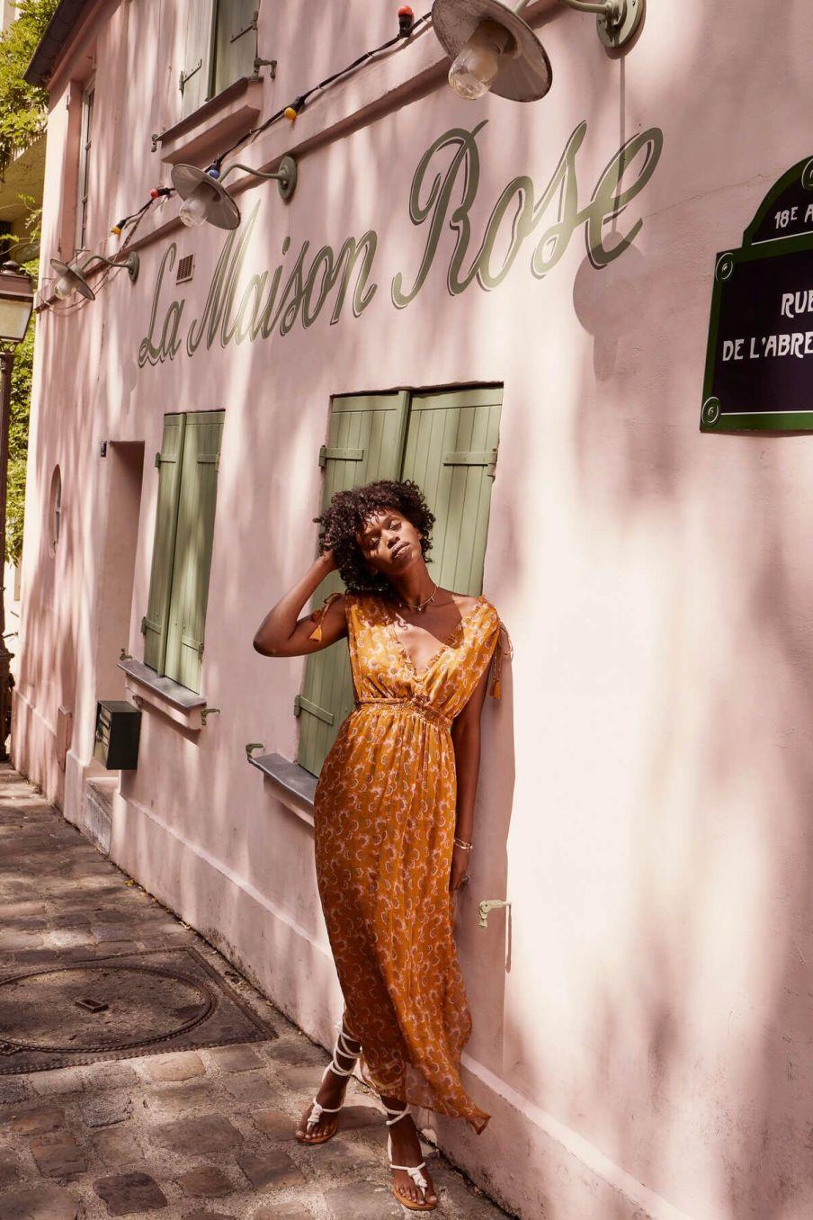boheme chic vintage robe femme plumeria cinnamon flowers
