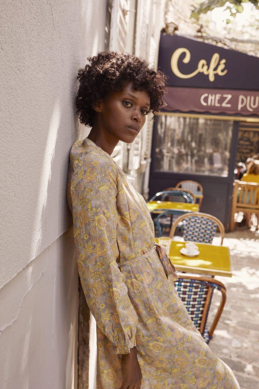 boheme chic vintage robe femme rama grey california flowers