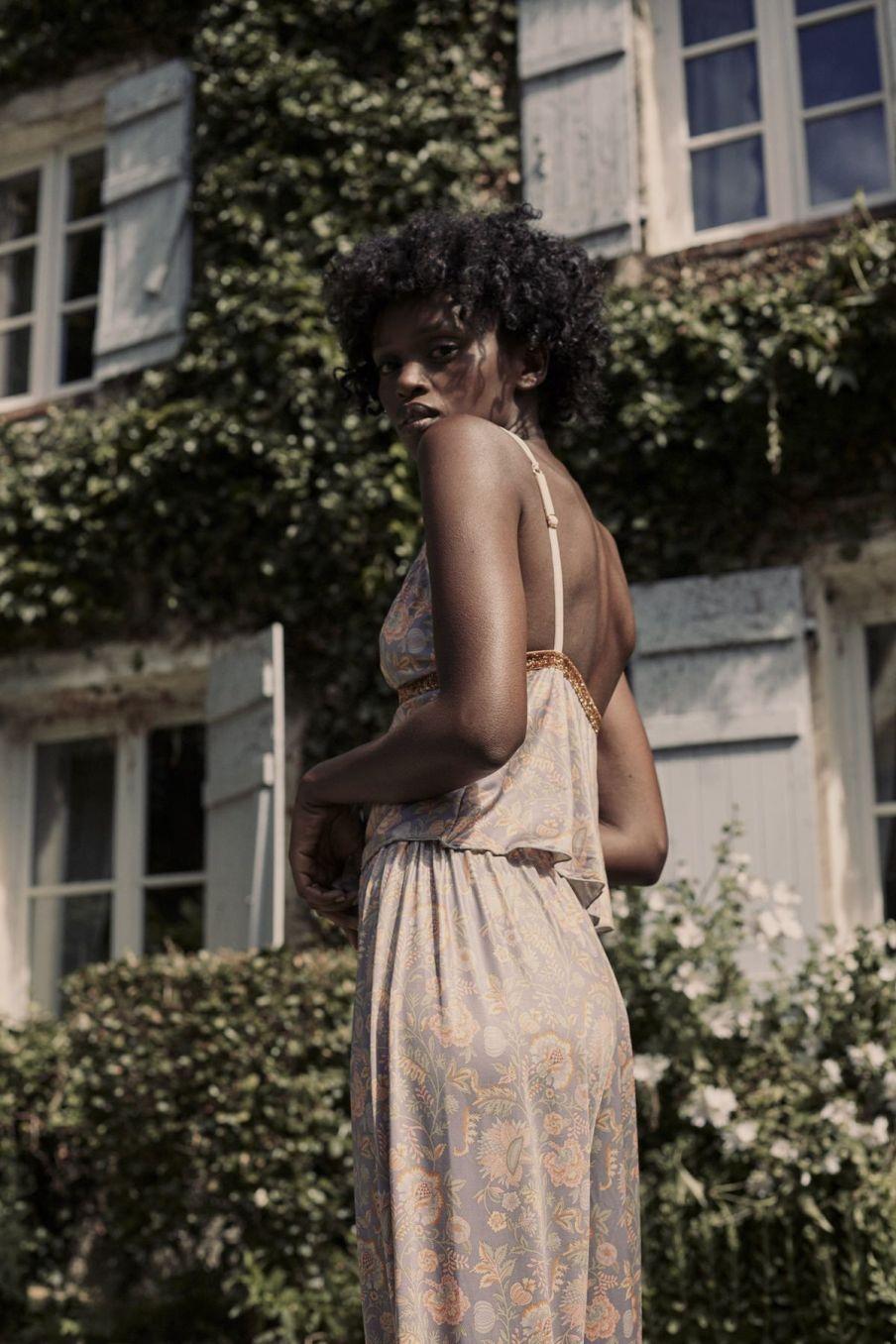boheme chic vintage bas de pyjama femme melicia grey california flowers