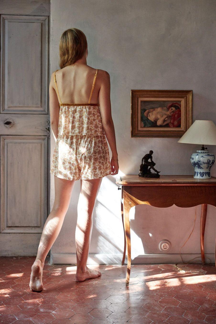 boheme chic vintage short de pyjama femme dream blush flowers
