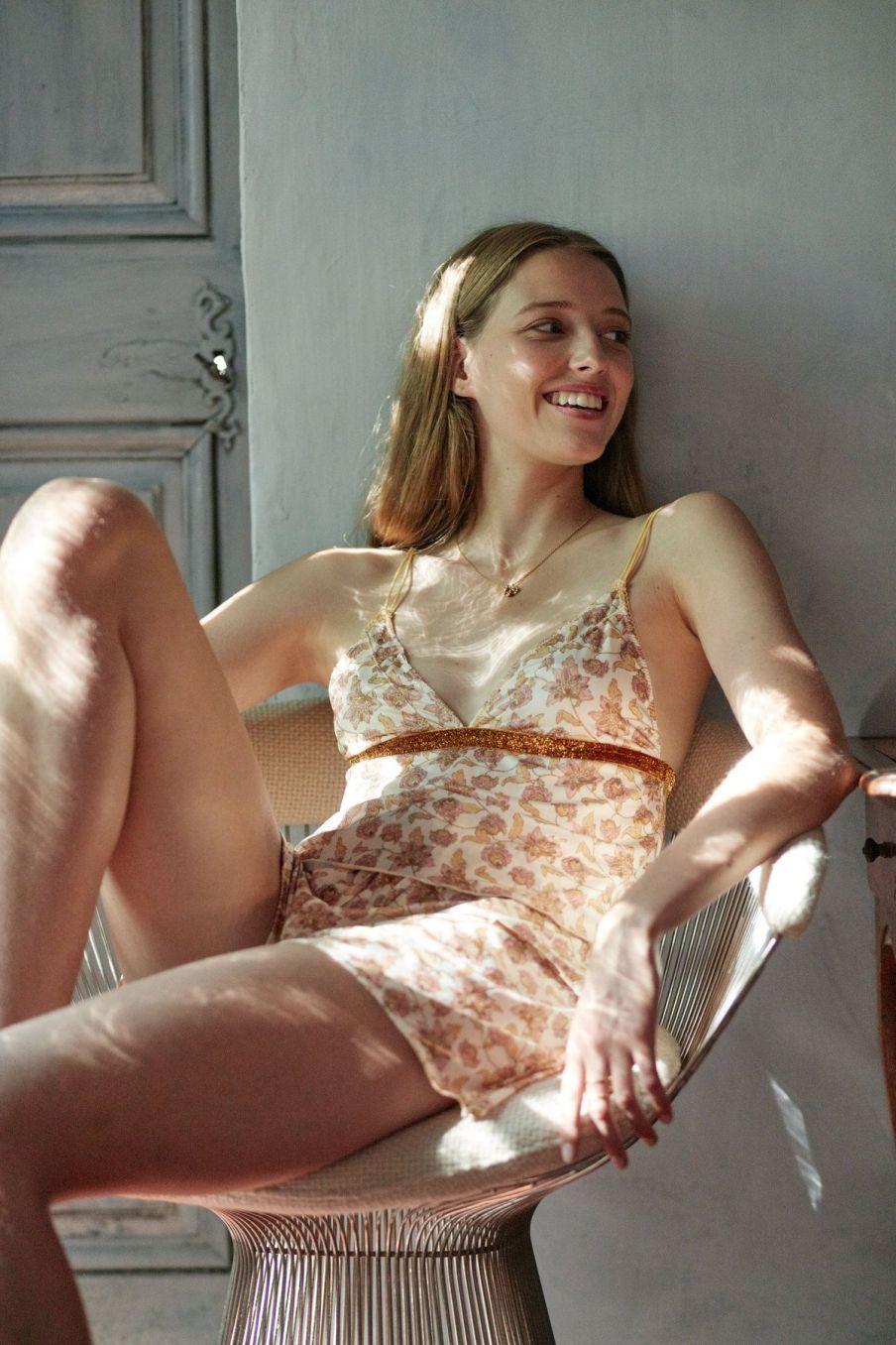 boheme chic vintage haut de pyjama femme loucoum blush flowers