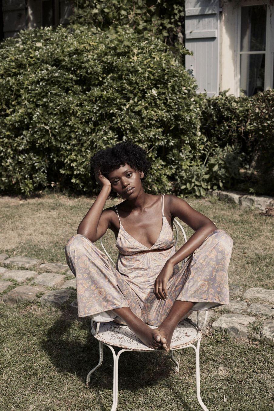 boheme chic vintage haut de pyjama femme loucoum grey california flowers