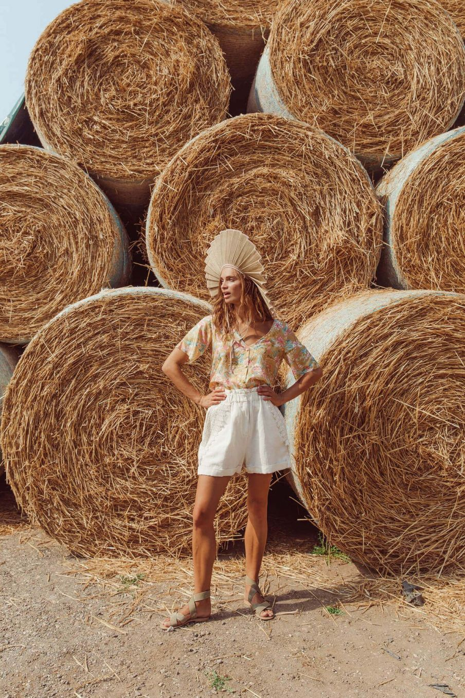boheme chic vintage short femme anton ecru