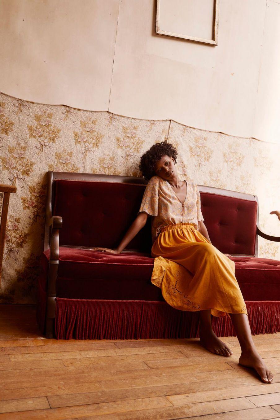 boheme chic vintage jupe femme maya cannelle