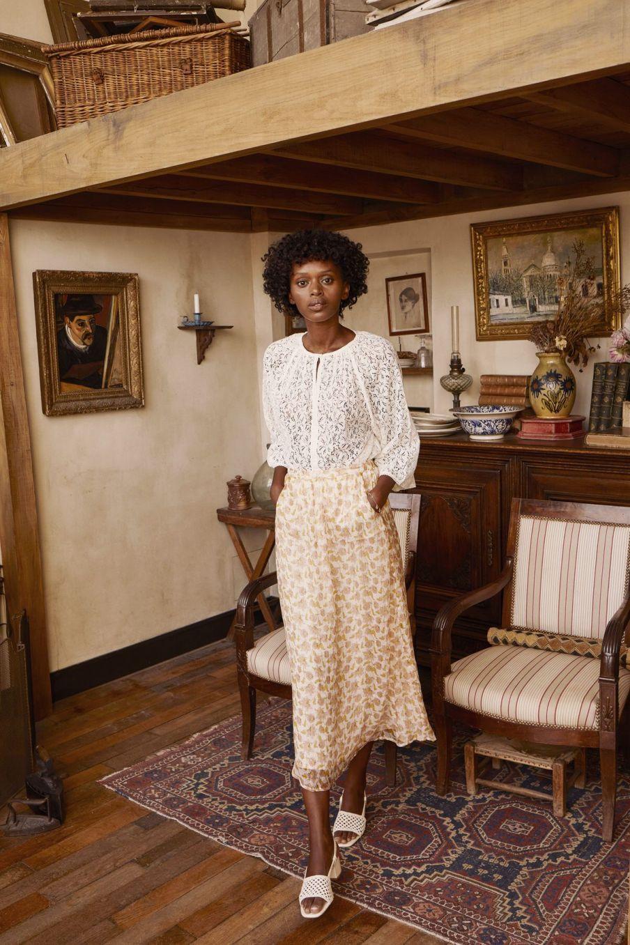 boheme chic vintage jupe femme yungalina blush flowers lurex