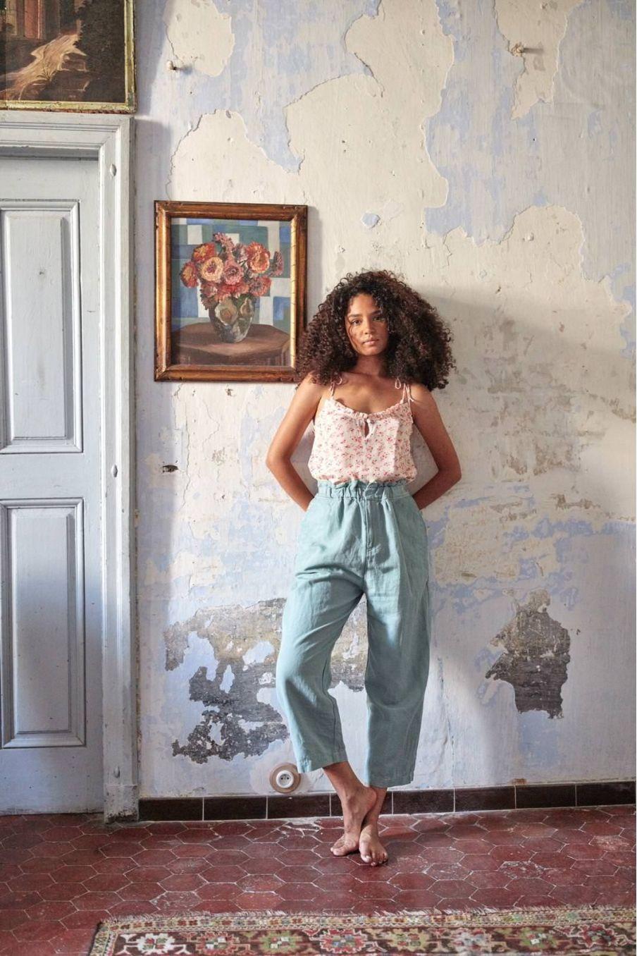 boheme chic vintage top femme legra cream blossom