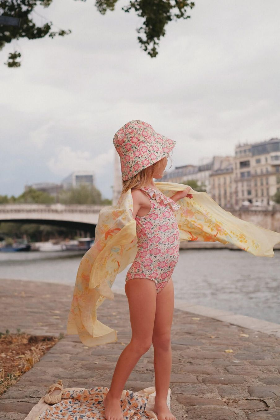 bohemian chic vintage bathing suit girl audrey pink meadow