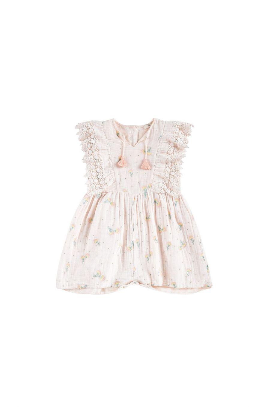 bohemian chic vintage jumpsuit girl agaro blush dandelion flowers
