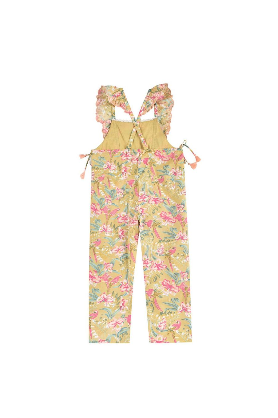 bohemian chic vintage overalls girl talia soft honey parrots