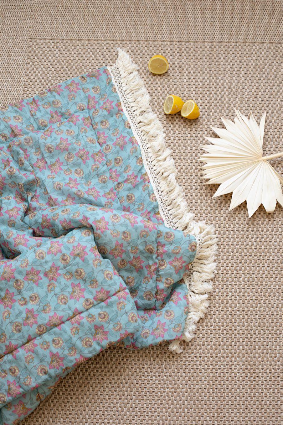 boheme chic vintage large plaid maison noha turquoise flowers