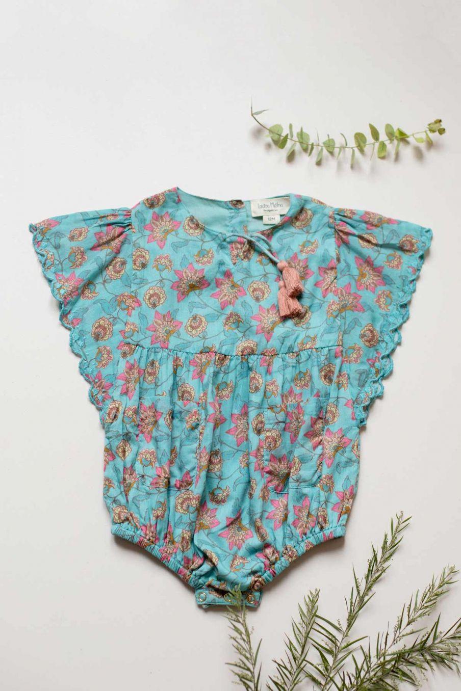 boheme chic vintage combinaison bébé fille mayalia turquoise flowers