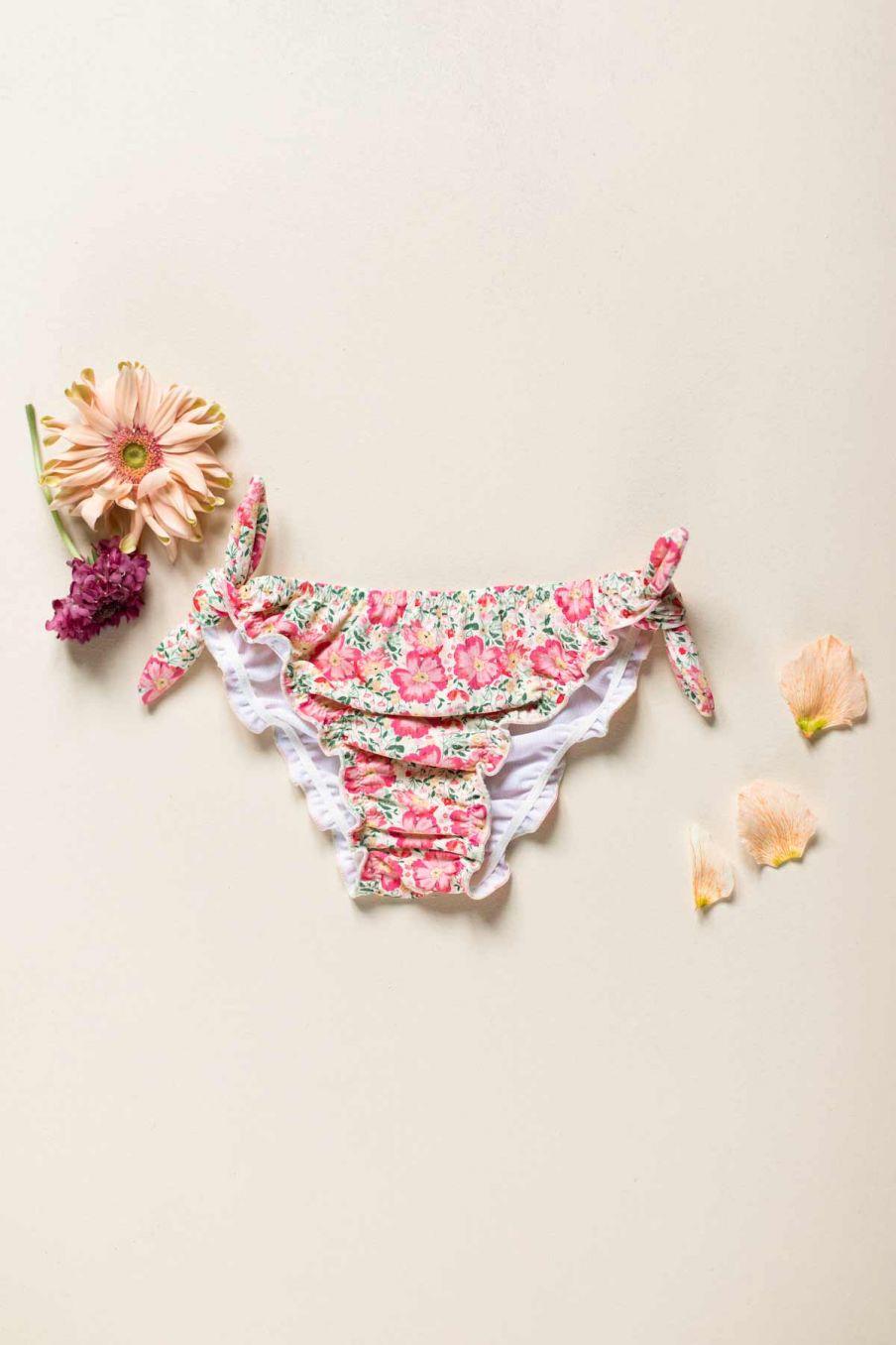 boheme chic vintage bas de maillot bébé fille zaca pink meadow