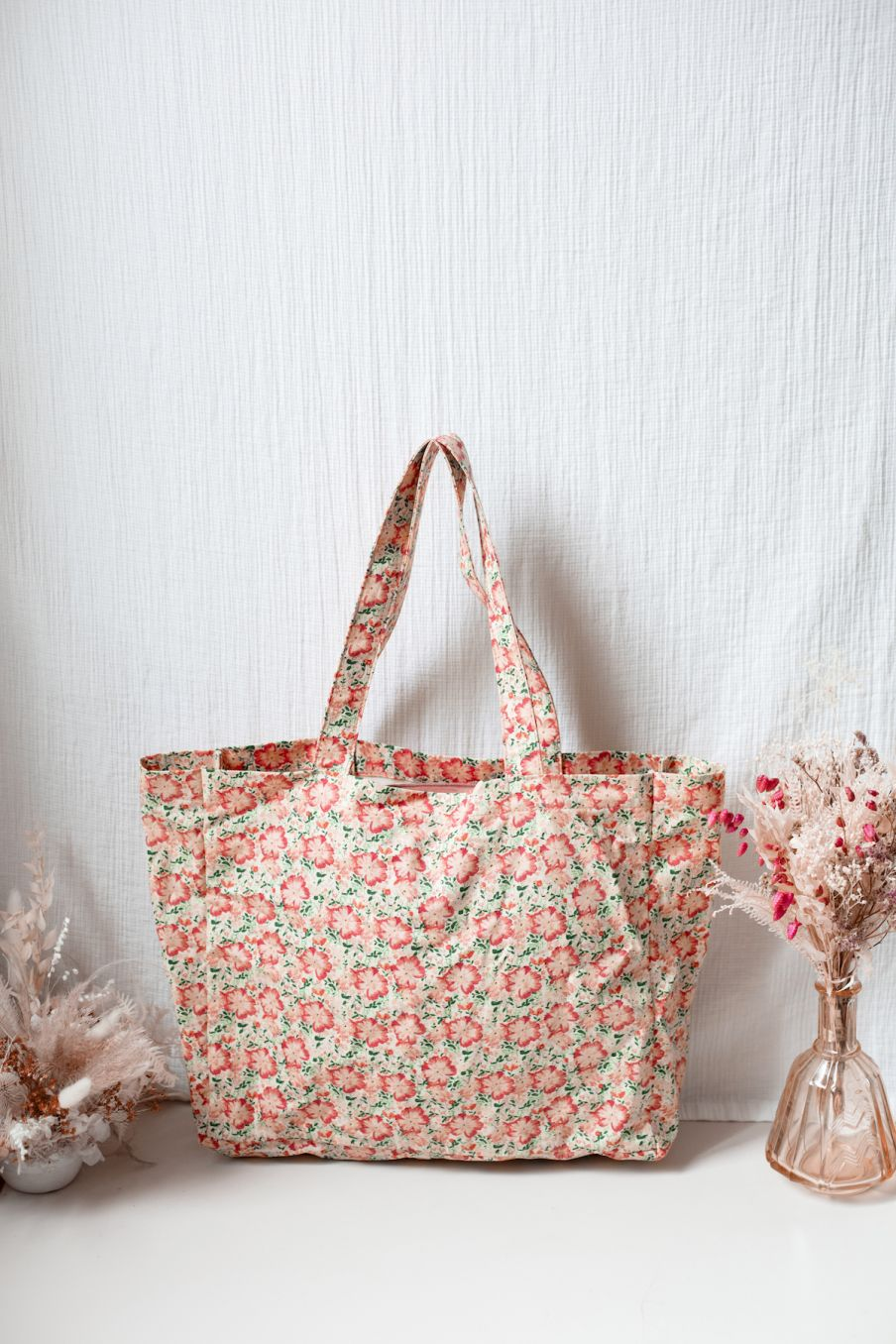 boheme chic vintage cabas femme beverly pink meadow