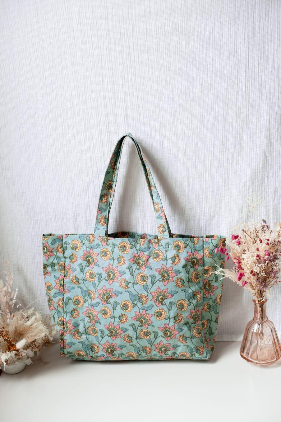 boheme chic vintage cabas femme beverly turquoise flowers
