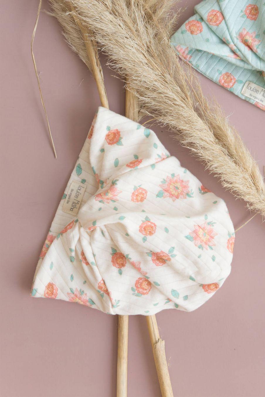 boheme chic vintage turban bébé fille abina off-white flowers