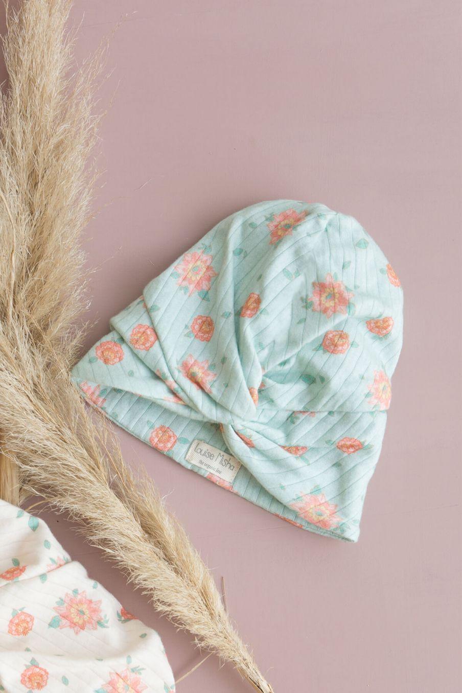 boheme chic vintage turban bébé fille abina vintage blue flowers