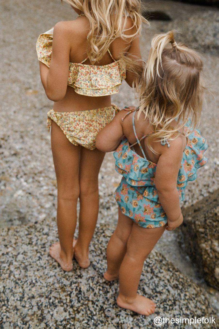 boheme chic vintage bikini fille zacata soft yellow spring flowers